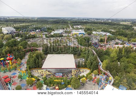 GUNZBURG GERMANY - AUG 18 2016: Aerial view of the Legoland Deutschland theme park in Gunzburg Germany