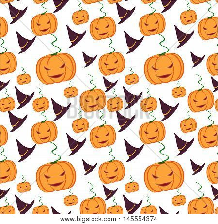 Helloween with orange evil pumpkins and hats.