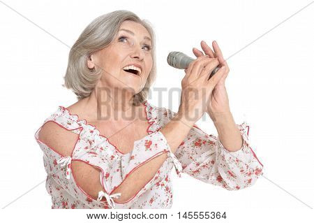 Senior singer woman portrait on white background
