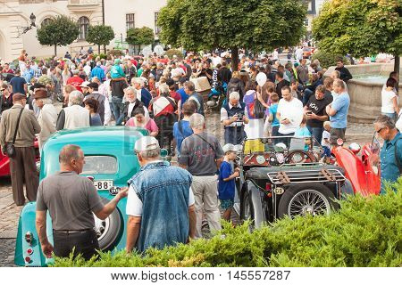 TISNOV, CZECH REPUBLIC - SEPTEMBER 3, 2016:  The traditional meeting of fans of vintage cars and motorbikes. An exhibition of old cars in the town square of Tisnov. Detail of veteran cars.