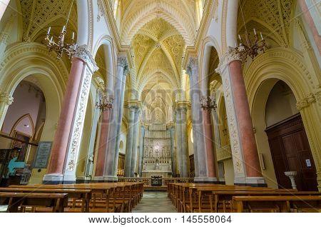 Interior Of The Cathedral Of Erice, Santa Maria Assunta. Sicily, Italy.