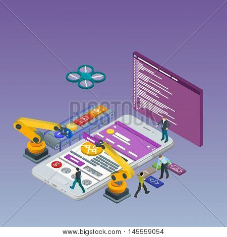 Mobile App Development, Experienced Team. Flat 3d isometric white phone. Manipulator robot robotized. Web development and UI design concept. Html code to the screen.