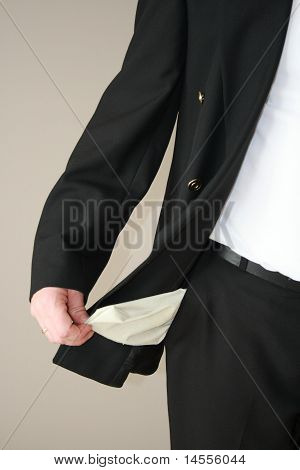 empty pockets without money