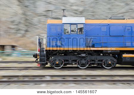 irkutsk Region, RU - Oct.10 2014: Diesel locomotive moving throufh the Circum-Baikal Railway. Irkutsk Region Siberia Russia