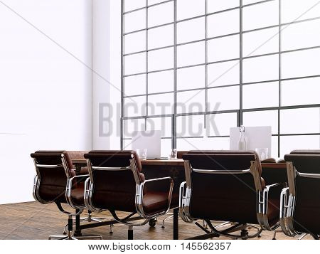 Picture modern meeting room with panoramic windows.Generics computers and generic design furniture in contemporary conference hall.Open space for sign business contracts.Horizontal. 3D rendering