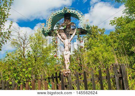 Decorated roadside Crucifix in Zagorje region, Croatia