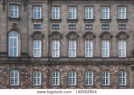 Windows on the facade of the castle in Kopenhagen, Denmark