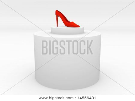A Pair Of Red High Heel Shoes On White
