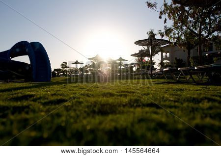 Lawn from ground view in hotel in the morning at dawn