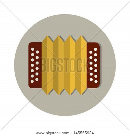 Accordion Traditional Beer Oktoberfest Festival Holiday Icon Flat Vector Illustration