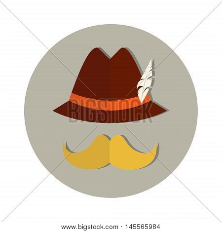Patric Mustache Hat Beer Oktoberfest Festival Holiday Icon Flat Vector Illustration