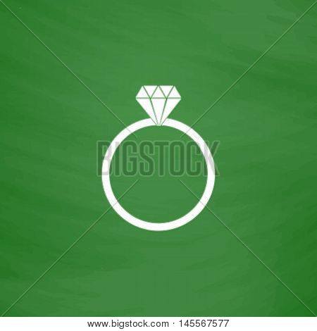 Diamond ring Simple vector button. Imitation draw icon with white chalk on blackboard. Flat Pictogram and School board background. Illustration symbol