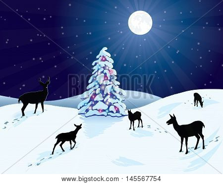 Deer in a snowy winter scene, with a bright moon shining down on a  snow-covered Christmas tree that is decorated with colorful lights.