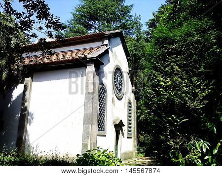 Abandoned church in the crystal palace gardens in Oporto