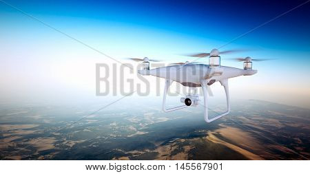 Photo White Matte Generic Design Air Drone with action camera Flying Sky under Earth Surface.Uninhabited Desert Mountains Sunset Background.Horizontal, front top angle view.Film Effect. 3D rendering