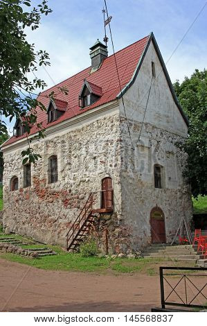 Vyborg Russia - 19 July 2016: The burgher's house a medieval residential building. Construction date is presumably in the XVI -- XVII century