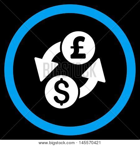 Dollar Pound Exchange vector bicolor rounded icon. Image style is a flat icon symbol inside a circle, blue and white colors, black background.