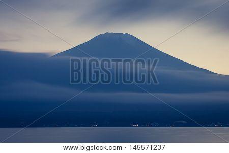 Mountain Fuji and cloud with beautiful sunset sky at lake Yamanaka