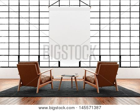 Modern interior studio loft huge panoramic window, natural color floor.Generic design furniture in contemporary business conference hall.Chillout lounge zone.Blank white pennant hanging. 3D rendering