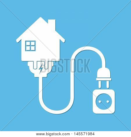 Silhouette of house with wire plug and socket - vector illustration. Simple icon with house socket and wire plug on blue background. Concept of connection disconnection of the electricity.