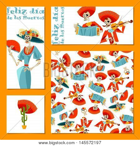 Set of 4 universal cards for Dia de Muertos. La Calavera Catrina. Vector illustration