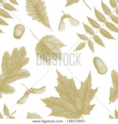Gold vintage engraving of autumn leaves on white background.  Seamless pattern. Vector golden autumnal oak, maple, acer, rowan leaf, acorn, maple keys seed, whirlybirds, polynoses set collection.