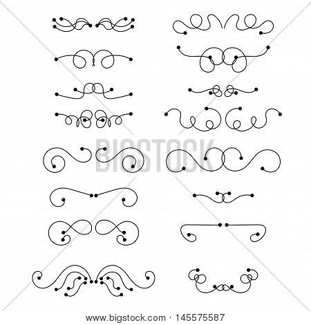 Abstract black thin line curly headers. Retro design element set isolated on white background. Dividers in linear style. Hand drawn swirls. Vector illustration.