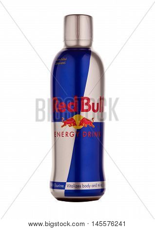LONDON UNITED KINGDOM-SEPTEMBER 3 2016: Bottle of Red Bull Energy Drink. In terms of market share Red Bull is the most popular energy drink in the world.Isolated on white background.