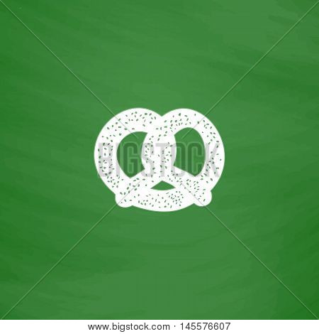 Pretzel Simple vector button. Imitation draw icon with white chalk on blackboard. Flat Pictogram and School board background. Illustration symbol