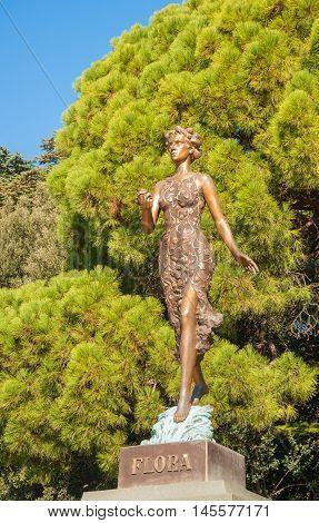 Monument to goddess of flowers and spring flora in Nikitsky Botanical Garden in Crimea. Opened October 4, 2012. Sculptor Oleg Medvedev. Russia, Crimea, Yalta. November 2, 2015