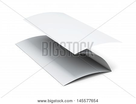 Blank Paper Brochure. 3D Illustration On White Background