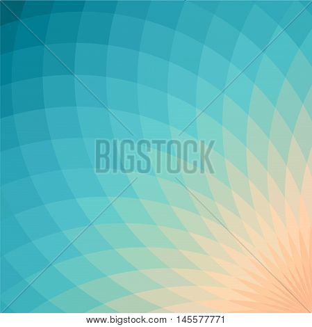 Background with bright blue and yellow geometric flower. Flow spectral light.