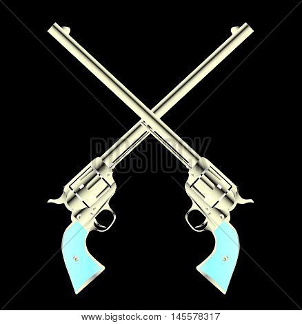 Two long barel six guns crossed set on a color background