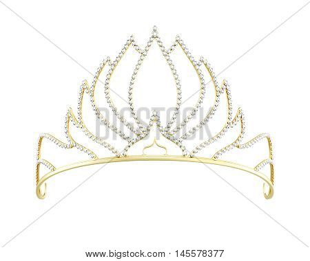 Golden Diadem Isolated On White Background. 3D Render Image
