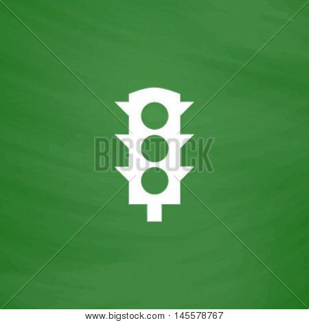 Traffic lights Simple vector button. Imitation draw icon with white chalk on blackboard. Flat Pictogram and School board background. Illustration symbol