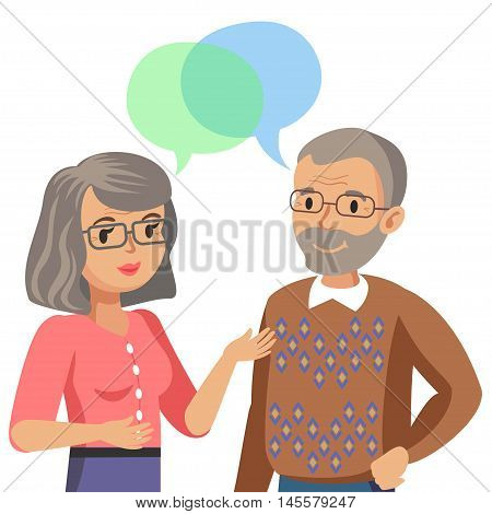 Old man and old women talking. Talk of spouse or friends. Vector illustration