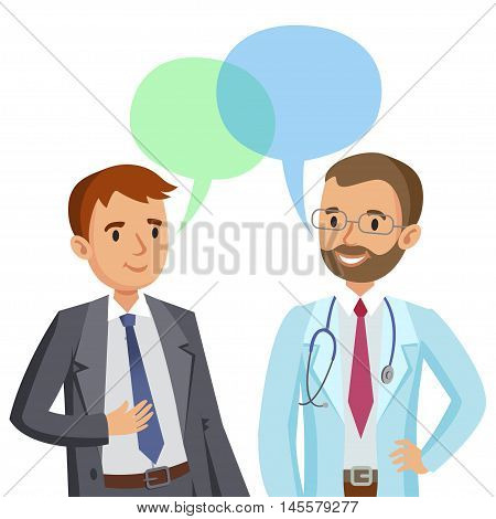 Doctor and patient. Man talking to physician. Vector illustration
