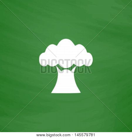 Baobab Simple vector button. Imitation draw icon with white chalk on blackboard. Flat Pictogram and School board background. Illustration symbol