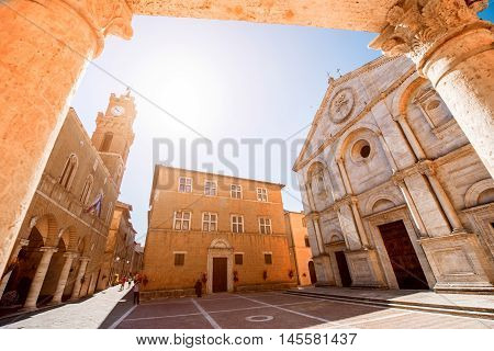 Main square with cathedral and town hall in Pienza town in Tuscany region in Italy