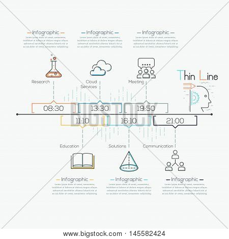 Thin line minimal arrow business infographic timeline template. Vector illustration. Can be used for workflow layout, diagram, number options, web design, infographics and timeline.