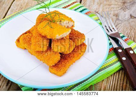 Fish sticks breaded Studio Photo on Plate
