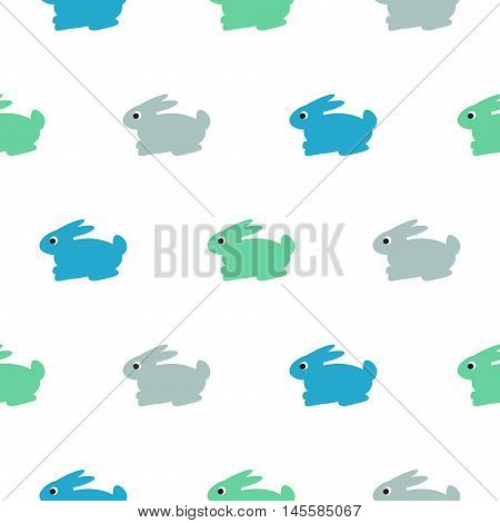 Rabbit blue, green on white kid pattern. Baby bunny toy vector seamless pattern for fabric print and apparel.