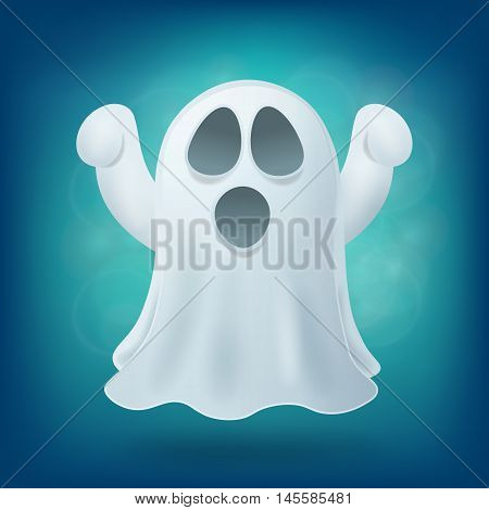 scary cartoon ghost on blue background. Halloween party design element vector illustration