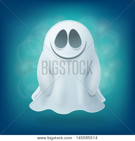 smile ghost on blue background. Halloween party design element vector illustration