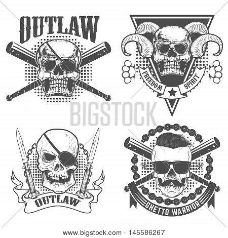 Set of gangsta emblems templates. Skull with two crossed knives on grunge background. Design element for t-short print. Vector illustration. T-shirt or poster print template. Vector illustration.