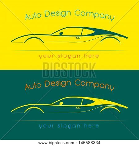 Vector company logo icon element template car auto drawing line contour shape.