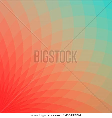 Background with bright red and blue geometric flower. Flow spectral light.