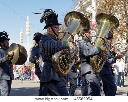 MOSCOW, RUSSIA - August 27, 2016: Musicians of the Orchestra of the Tyrolean Imperial Riflemen Austria. Festival of military orchestras