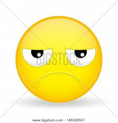 Sad emoticon. Hurt emoticon. Unhappy emoticon. Pouter emoji. Upset emotion. Vector illustration smile icon. poster