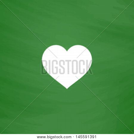 heart Simple vector button. Imitation draw icon with white chalk on blackboard. Flat Pictogram and School board background. Illustration symbol